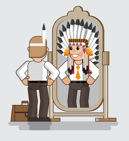 Businessman looks at himself in the mirror and sees himself as the big boss. Economic growth concept in isometric flat design. Growth charts. Vector illustration Eps10 file. Illustration