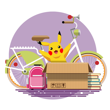 Illustration of a cardboard box with old things in a flat style. Box with old stuff vector. Bicycle, backpack, books, soft toy. Vector illustration Eps10 file
