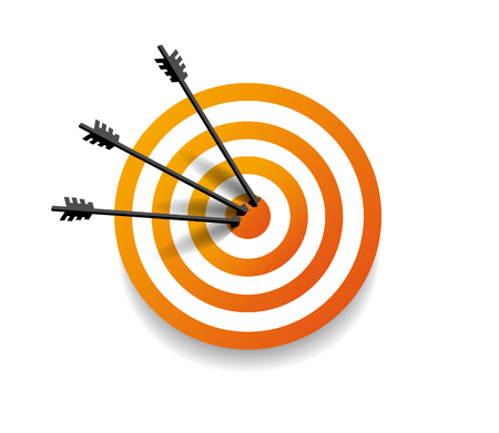 Target with three arrow in center. Arrows hit the target. Business concept. Vector illustration Eps10 file Illustration