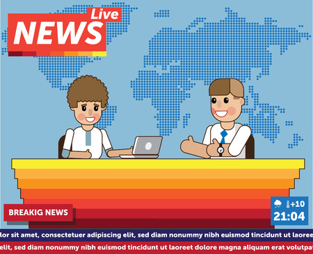Vector Illustration anchorman breaking news and tv screen layout. Professional interview men newsreader breaking news anchor. Communication broadcast newscaster breaking news anchor journalist. Иллюстрация