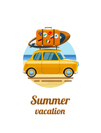 Summer vacation. Vacations on the beach. Relax on the beach. Relax on the beach of the sea. Car by the sea with luggage. Summer tourism, travel. Flat style. Flat design. Vector illustration
