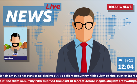 Anchorman on tv broadcast news. Anchorman on a globe background. Anchorman flat vector illustration. Anchorman with the release of breaking news Illustration
