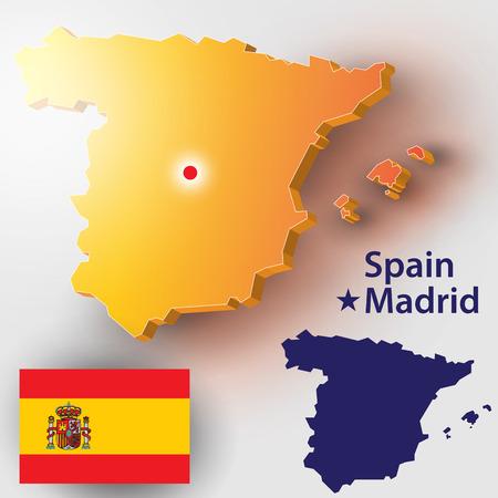 Map of Spain. Vector silhouette of the Spanish flag. The country's capital - Madrid. Vektoros illusztráció