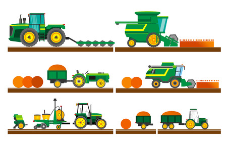 Agricultural machinery. Set of agricultural machinery. Set of agricultural equipment on white background. A set of agricultural machinery for harvesting fields. Flat style. Flat design. Vector illustration Eps10 file