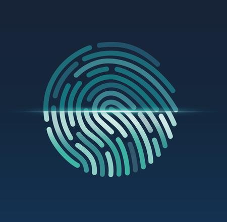 Fingerprint. ID app icon. Fingerprint icon app. Fingerprint ID symbol. Fingerprint scan. Fingerprint security check. Vector illustration Eps10 file Stock Illustratie
