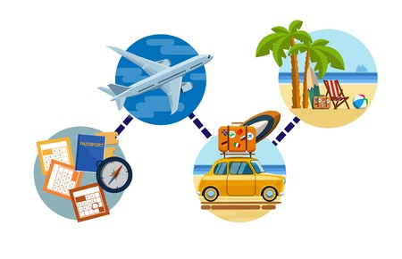 Holidays at the seaside. Beach vacations. Relax on the beach. Relax on the beach of the sea. Rest on the seashore under the palm trees. Traveling by plane then by car to the sea. Vector illustration Ilustração