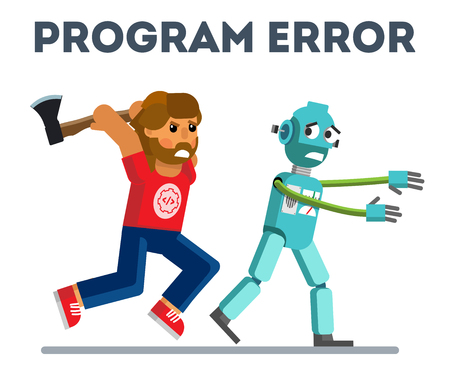 Program error. Program error in flat style. Error in artificial intelligence. Vector illustration Eps10 file