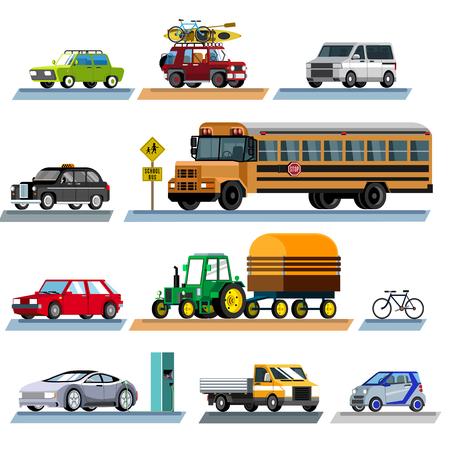 Transport. The set of transport. Set of different colored vehicles. Flat style. Flat design. Vector illustration Eps10 file