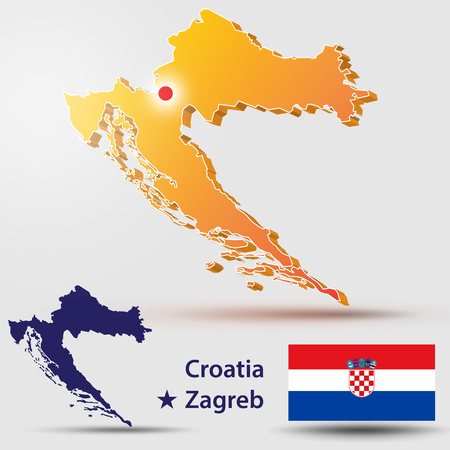 Map of Croatia. Silhouette of the Croatian flag. The countrys capital - Zagreb.