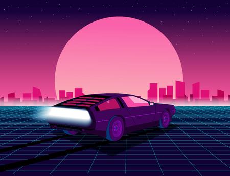 Retro przyszłość. Tło sci-fi w stylu lat 80. z supersamochodem. Futurystyczny samochód retro. Ilustracja wektorowa retro futurystyczny syntezator w stylu plakatów z lat 80-tych. Nadaje się do każdego nadruku w stylu lat 80. Ilustracje wektorowe
