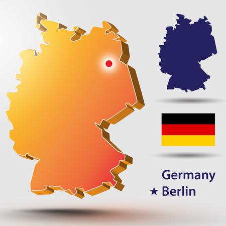 Map of Germany. Vector silhouette of the German flag. The country's capital - Berlin. Vektoros illusztráció