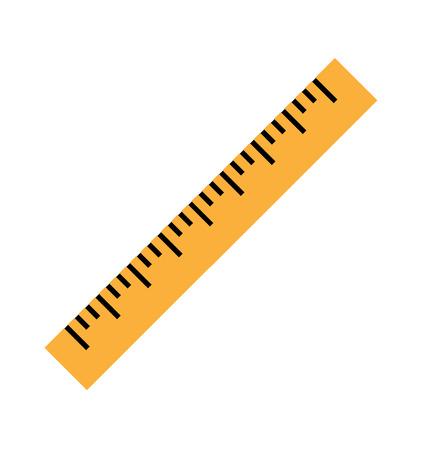フラットなスタイルで黄色の定規のシルエット。黄色の定規のアイコン。白い背景に分離されたベクター黄色のルーラー。ルーラーの上のビューのイラスト。ベクトルイラスト Eps10 ファイル