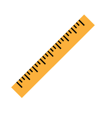 Silhouette of a yellow ruler in a flat style. Icon of the yellow ruler. Vector yellow ruler isolated on white background. Ruler top view illustration. Vector illustration Eps10 file Vettoriali