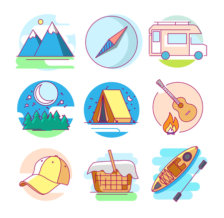 Modern linear pictogram of camping. Icons of camping. Mountains. Compass. Baseball cap. Camping car. Kayak. Tourist tent. Perfect for website, mobile apps, catalogue, booklet, promotional products