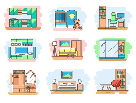 Modern linear pictogram of home room and types furniture. Set of concept line icons home room and types furniture. Home room. Types furniture. Kitchen. Living room. Bedroom. Hallway. Workplace