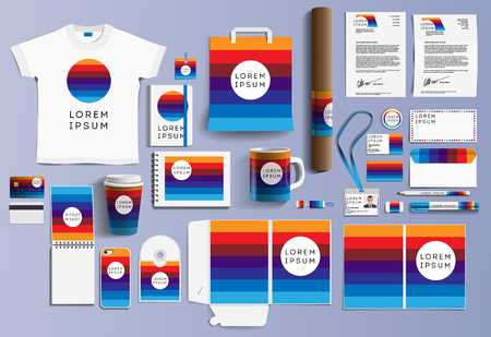 Corporate identity business items. Editable corporate identity template design. Vector icons office stationery. Gift Items business color promotional souvenirs elements. Stationery set corporate style