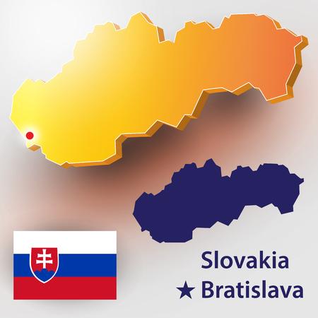Map of Slovakia. Vector silhouette of Slovakia and flag. The country's capital - Bratislava.