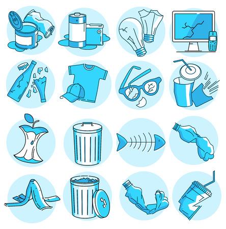 Modernes lineares Piktogramm des Mülls. Satz von Konzeptzeilensymbolen Müll. Müll-Symbole. Abfall Metall, Glas, Papier, Plastik, Lebensmittel, Elektronik, organische Stoffe. Sortieren von Abfällen. Sortieren von Müll.
