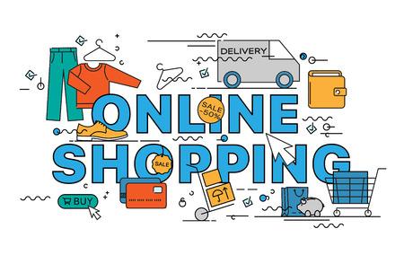 Online shopping. Lettering flat line design concepts of online shopping. Thin line flat design banners for website, web design, catalogue, booklet, promotional products, infographics, print design 向量圖像