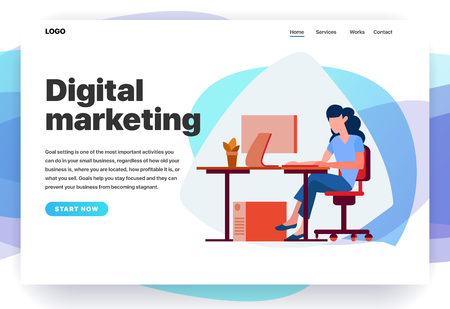 Web page design templates for digital marketing, consulting, SEO, business solutions. Modern vector illustration concepts for website and mobile website. The Girl works at the computer. Office worker working