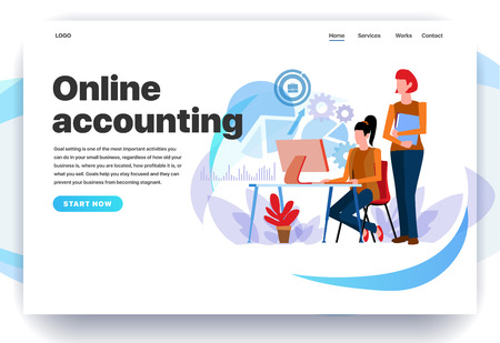 Web page design templates for online accounting, creating accounting reports, calculation of debit and credit. Two accountants count profits. Modern vector illustration concepts for website and mobile website