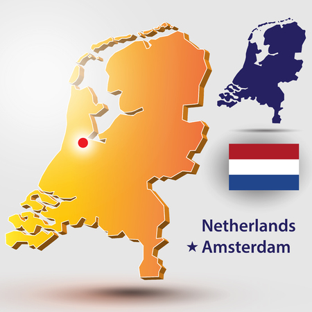 Map of Netherlands. Vector silhouette of the Netherlands flag. The country's capital - Amsterdam.