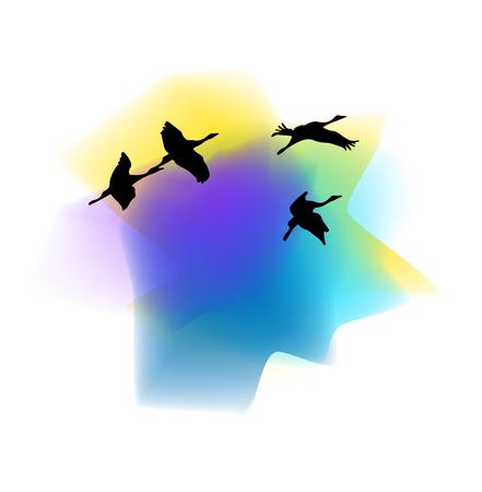 Silhouettes of cranes. Silhouettes of cranes against the sunset background. Cranes birds. Silhouette of a flying heron. Silhouette of flying storks. Wild nature. Vector illustration Eps10 file