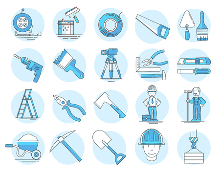 Modern linear pictogram of building tools. Set of concept line icons building tools. Construction, home repair tools. Repairs in the house. Construction company. Redevelopment of premises. Flat design