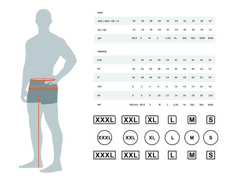 Medidas para ropa. Ilustración de vector de las dimensiones de la cintura y las caderas masculinas. Tabla de tallas para hombre. La plantilla de modelo con tamaños internacionales se puede utilizar para ropa masculina, ropa Ilustración de vector