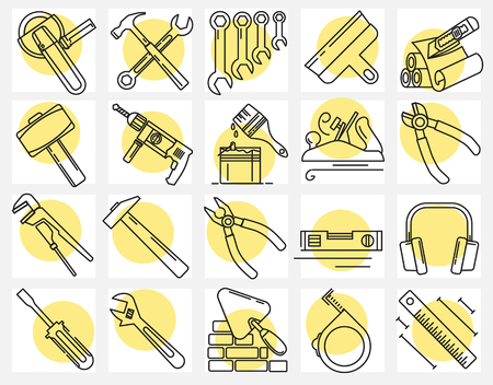 Modern linear pictogram of building tools. Set of concept line icons building tools. Construction, home repair tools. Repairs in the house. Construction company. Redevelopment of premises