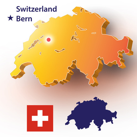 Map of Switzerland. Vector silhouette of the Swiss flag. The country's capital - Bern.