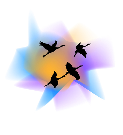 Silhouettes of cranes. Silhouettes of cranes against the sunset background. Cranes birds. Silhouette of a flying heron. Silhouette of flying storks. Wild nature. Vector illustration Eps10 file
