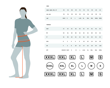 Misure per abbigliamento. Illustrazione vettoriale delle dimensioni della vita e dei fianchi femminili. Tabella delle taglie per le donne. Il modello di modello con dimensioni internazionali può essere utilizzato per biancheria femminile, vestiti