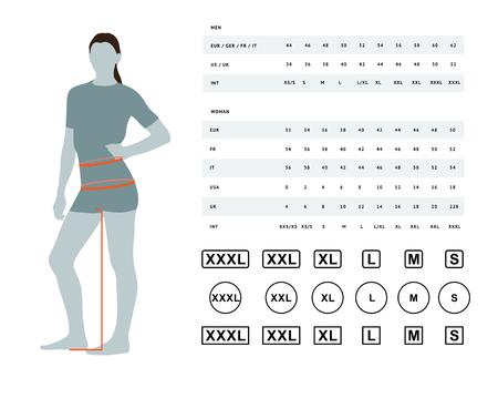 Wymiary odzieży. Ilustracja wektorowa wymiarów kobiecej talii i bioder. Tabela rozmiarów dla kobiet. Szablon modelu o rozmiarach międzynarodowych może być używany do bielizny damskiej, ubrań