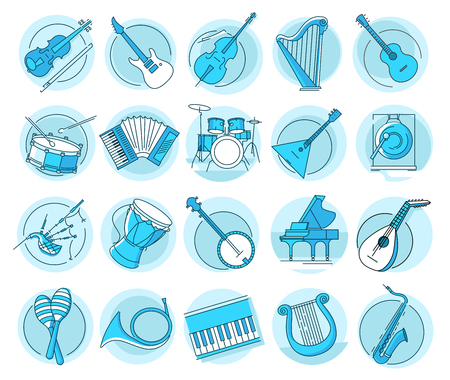 Modern linear pictogram of musical instruments. Set of concept line icons musical instruments. Musical tools. UIUX for web design, applications, mobile interface, infographics and print design Illustration