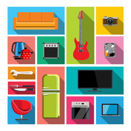 Set of flat objects icons. Set of items such as sofa, electric guitar, photo camera, refrigerator, TV, laptop, armchair, wrench. Can be used for a website, web design, brochure, catalogue, mobile apps Ilustração