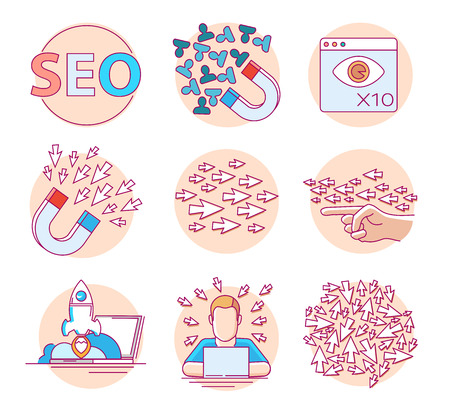 Modern linear pictogram of seo and website statistic. Set of concept line icons for seo and website statistics. UIUX for web design, applications, mobile interface, infographics and print design