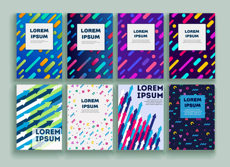 Vector template covers with geometric pattern. Set of vector cover templates. Modern set of covers. Composition of shapes on the covers. Creative cover design. Vector template Eps10 file 向量圖像