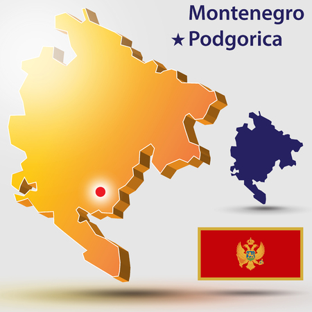 Map Montenegro. Vector silhouette of Montenegro and the flag. The countrys capital - Podgorica