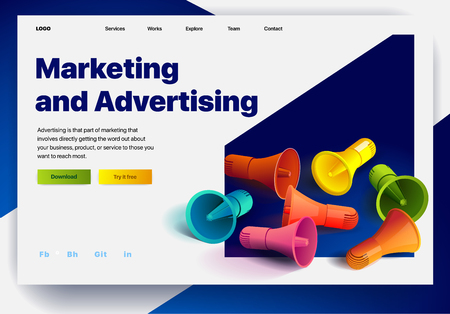 Website providing the service of marketing and advertising. Concept of a landing page for marketing and advertising. Vector website template with 3d isometric illustration of a megaphones