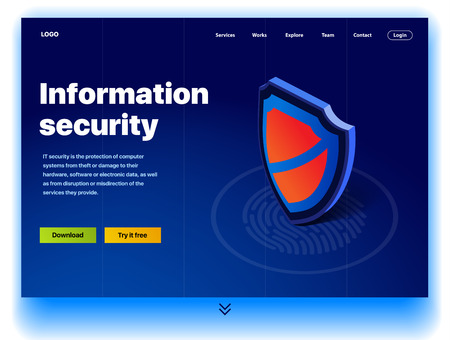 Website providing the service of information security. Concept of a landing page for information security. Vector website template with 3d isometric illustration of a security. Protection for computer