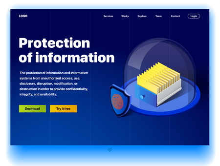 Website providing the service of protection of information. Concept of a landing page for protection of information. Vector website template with 3d isometric illustration of a protection of info Illustration