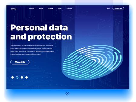 Website providing the service of personal data and protection. Concept of a landing page for personal data and protection. Vector website template with isometric illustration of a fingerprint scanner