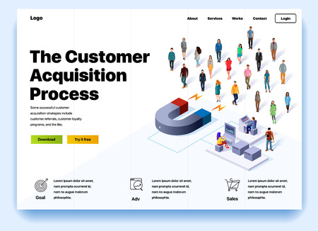 Website providing the service of the customer acquisition process. Concept of a landing page for customer acquisition process. Vector website template with 3d isometric illustration magnet and client