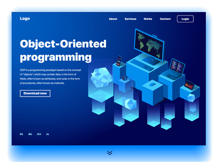 Website providing the service of object-oriented programming. Concept of a landing page for object-oriented programming. Vector website template with 3d isometric illustration of a devices programming