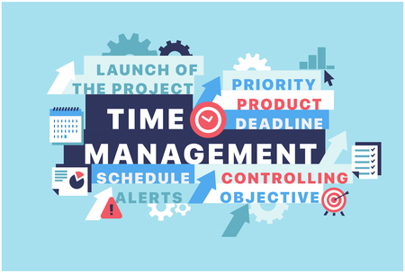 Banner time management concept vector illustration with icons. Can be used for web design, presentation, printed design, banner