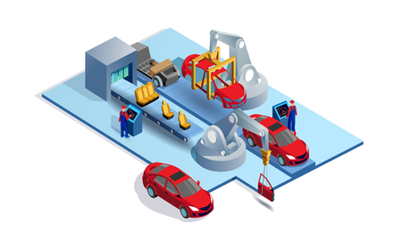 Car factory. Automobile plant. Automotive assembly line. Engineering systems automobile production line. Car manufacturing process. Conveyor for assembly of cars vector 3d isometric illustration Imagens - 119519765