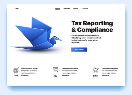 Website providing the service of tax reporting and compliance. Concept of a landing page for tax reporting and compliance. Vector website template with 3d isometric illustration of a tax reporting Stock Illustratie