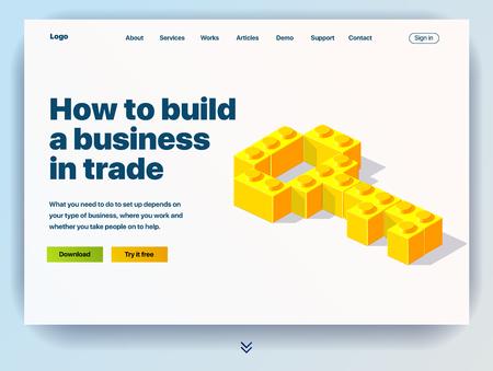 Website, die den Service zum Aufbau eines Handelsgeschäfts bereitstellt. Konzept einer Landingpage zum Aufbau eines Handelsgeschäfts. Vektor-Website-Vorlage mit 3D-Darstellung eines Schlüssels aus Blöcken Vektorgrafik