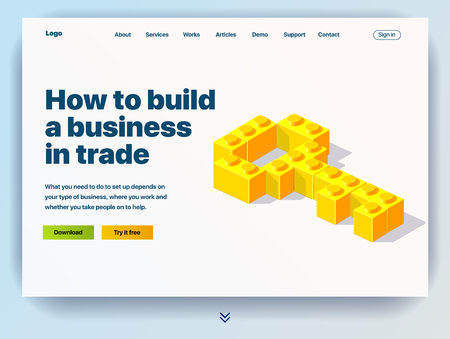 Website providing the service of how to build a business in trade. Concept of a landing page for how to build a business in trade. Vector website template with 3d illustration of a key from blocks Vektoros illusztráció